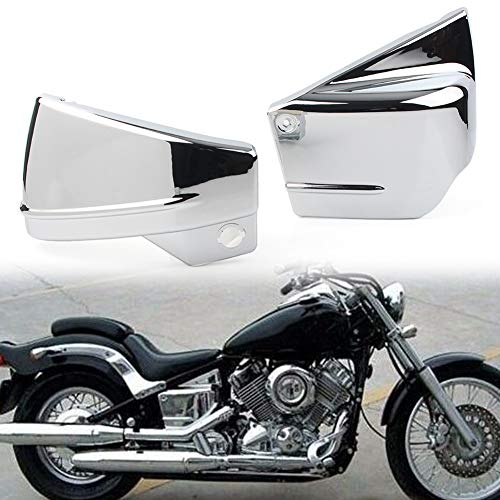 Three T Side Motorcycle Fairing Battery Cover Compatible with Yamaha V-Star 650 / Dragstar 650 / XVS650 / XVS650A All Years, Chrome