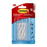 Command 17026CLR -  Ganchos mini para decoración con tiras transparente, Pack de 20