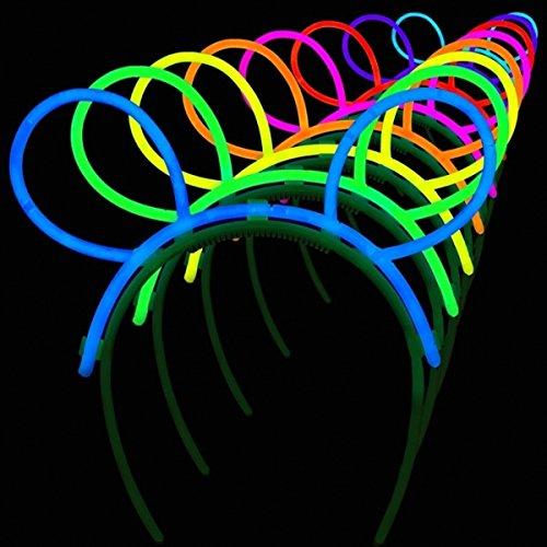 La Vida en Led 10 Diademas Orejas Conejo Luminosas Glow Regalo 20 Pulseras