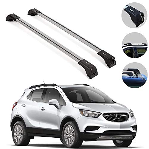 Roof Rack Cross Bars Luggage Carrier Set Silver Fits Buick Encore 2013-2020 | Aluminum Cargo Carrier Rooftop Luggage Bars