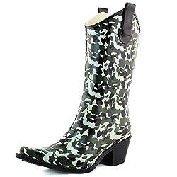 powerful Nature Breeze Women Cb Rain 15 Camouflage Print Rain Boots Shoes, Camouflage, 6