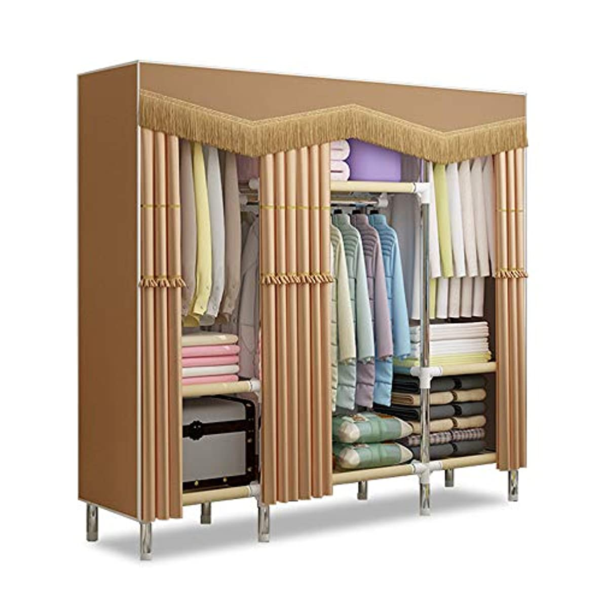 Ybriefbag-Home Convenient Assembly Bedroom Furniture Clothes Closet Thick Curtain Fabric Cloth Wardrobe Folding Cloth Storage Organizer Storage Cabinet Simple Modern