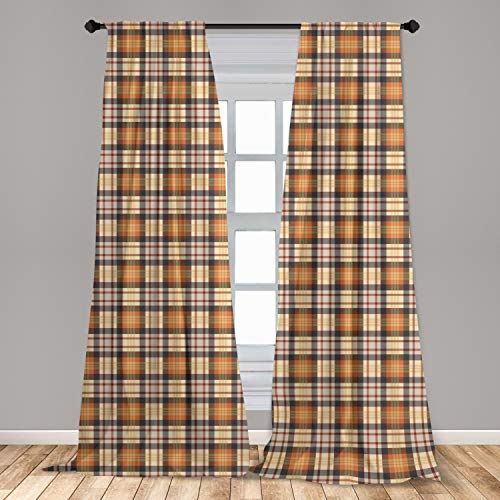 Lunarable Abstract Window Curtains, Nostalgic Plaid Motif with Stripes Classic Checkered Celtic Fashion Design, Lightweight Decorative Panels Set of 2 with Rod Pocket, 56' x 84', Orange Beige