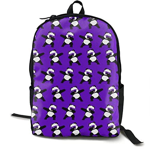XCNGG Männer Frauen Mode College School Daypack Mehrzweck Jungen Mädchen Geschenk Reise Business Rucksack für Sport im Freien Laufen (Tupfen Panda Hip Hop Lustiges Muster Lila)