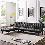 Anshunyin Sofa Bed Fabric Modern Reversible Sectional Recliner Couch Sectional Sofa Sleeper Couch Living Room Sofa Set with Wood Legs, Black