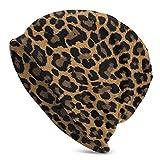 Animal Leopard Print Slouchy Beanie Hat Gorras Invierno Soft Stretchy Knit Skull Cap para Mujeres Hombres