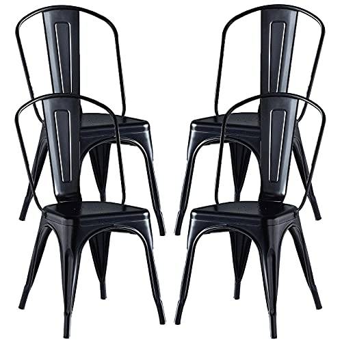 Metal Dining Chairs Set of 4 Stackable Outdoor Chairs with Removable Back Industrial Vintage Kitchen Chairs for Dining Room Cafe Patio Lawn Garden Furniture Black