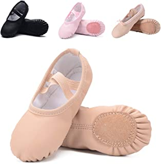 Ruqiji Leather Ballet Shoes for Girls/Toddlers/Kids/Women, Full Sole Leather Ballet Slippers/Dance Shoes