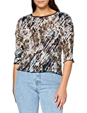 APART Fashion Apart Damen Plisseebluse mit verdecktem Reißverschluss hinten Blusas, Beige-Multicolor, 42 para Mujer