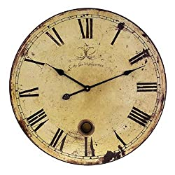 Imax 2511 Large Wall Clock with Pendulum – Vintage Style Round Wall Clock, Wall Decor for Kitchen, Office, Retro Timepiece. Home Decor Accessories