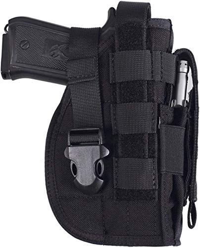 ACEXIER Universal Tactical Gun Holster Right Hand Molle Pistol Holster Combat Airsoft Waist Belt Holster for 1911 45 92 96 Glock(Black)