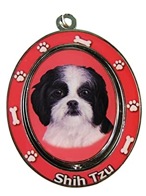"""Shih Tzu, Black and White Key Chain """"Spinning Pet Key Chains""""Double Sided Spinning Center With Shih Tzus Face Made Of Heavy Quality Metal Unique Stylish Shih Tzu Gifts from E&S Imports, Inc"""
