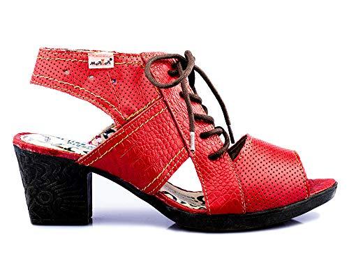TMA 1166 Damen Sandaletten Leder rot - EUR 39