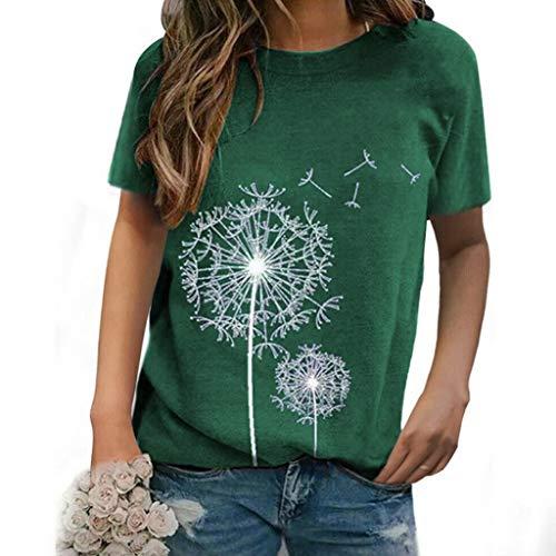 Kanpola Pusteblume T-Shirt Damen Oberteile Sommer Blusen Kurzarm Blumenmuster Print Shirts Lässig Top