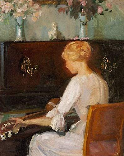 Números para niños adultos - Mujer joven tocando la guitarra frente a un piano - Anna Ancher - Pintura digital DIY por kits de números en lienzo-40x50cm con marco
