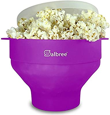 Original Salbree Microwave Popcorn Popper, Silicone Popcorn Maker, Collapsible Bowl - The Most Colors Available (Purple)