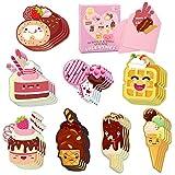 LANMOK Tarjeta de San Valentín para Niños 32 hojas Tarjetas de Felicitación para el Día de San Valentín Diseño de Postres Cupcakes con 32 pcs Sobres para Tarjetas Regalo de Fiesta de Aula Escuela