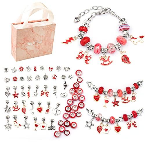 Juego de pulseras para niños, manualidades de joyería, con 60 elementos diferentes colgantes de perlas y 3 pulseras y caja de regalo, pequeños regalos para niños y niñas (rojo)