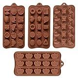 Fumetto Stampo In Silicone Cioccolato Stampo Per Cioccolato Coniglietto Stampo Cioccolato Anatra Muffa Del Cioccolato Orso Stampo Corona Multi-Forma Dello Stampo Cioccolato Del Silicone(4 Pezzi)
