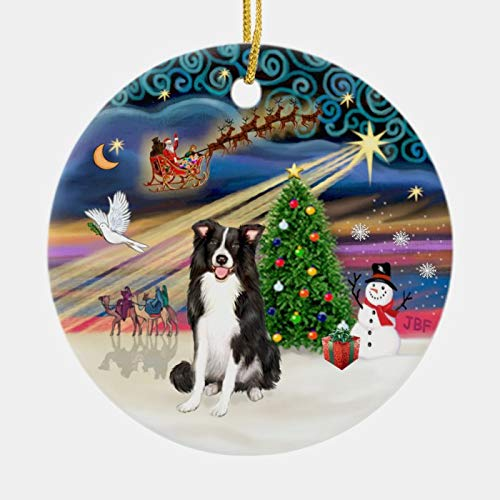 SLobyy Personalized 3 Inch Christmas Ornament, Xmas Magic - Border Collie 1 Ceramic Ornament, Xmas Ornament Keepsake Gift