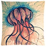 Elegant Comfort Luxurious Silky Soft The Undersea World Jellyfish Zippered Pillow Case 18x18 inch (one side)