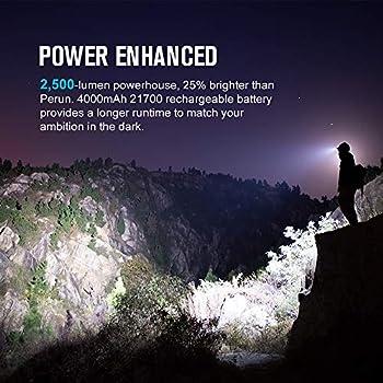 OLIGHT Perun 2 Lampe Frontale Puissante Multifonctionnelle Sortie Max 2500 Lumens Portée Max 166 Mètres IPX 8 Etanche Lampe de Front LED Rechargeable pour Sports, Travail, Pêche etc