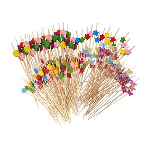 Xumier 400pcs Palito de fruta desechable 12 cm Palillos de Cóctel Multicolor Palito de fruta de bambú Tenedor de fruta Color corazón ciruela flor pentagonal mariposa