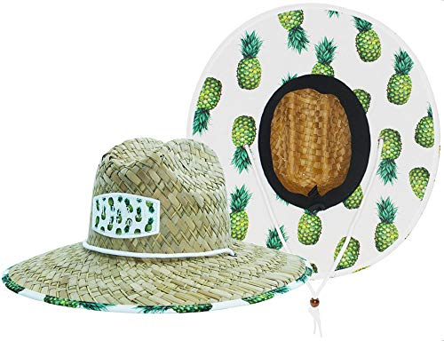 Woman''s Sun Hat Straw Hat with Fabric Print Lifeguard Hat Great for Beach Ocean, Cruise, and Outdoor, Malabar Hat Co. (Pineapple Yellow)