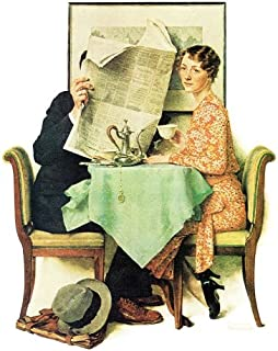 Norman Rockwell At The Breakfast Table 1930 Art Print - 8 in x 10 in - Unmatted, Unframed