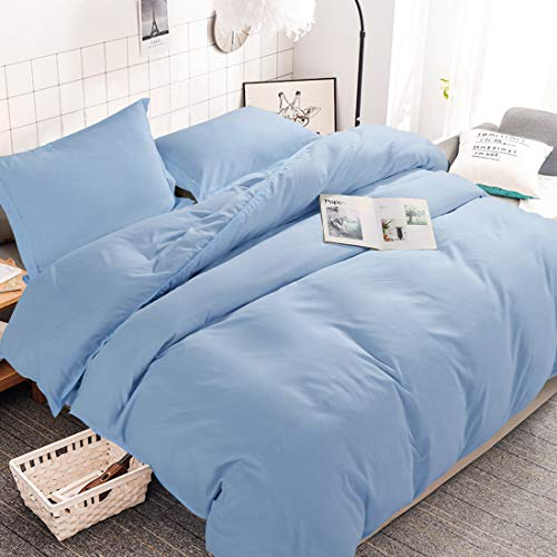 INGALIK Bedding 2 Piece Duvet Cover Set Twin Size with Zipper Closure Ultra Soft Breathable 100% Washed Microfiber Hotel Luxury Solid Color Collection 3pc (1 Duvet Cover + 1 Pillow Shams) Lake Blue