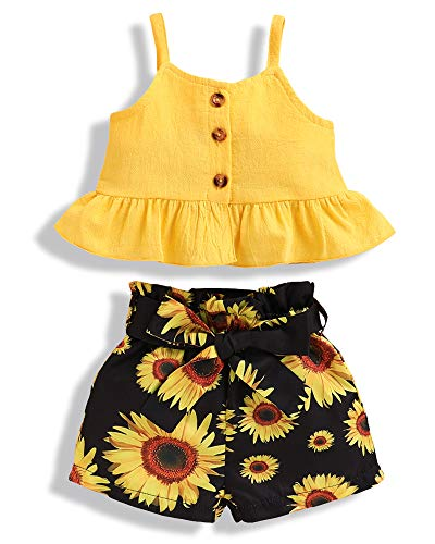 NZRVAWS Toddler Baby Girl Summer Clothes Infant Girl Outfits T-Shirt Vest Tank Tops+Sunflower Shorts Baby Girls
