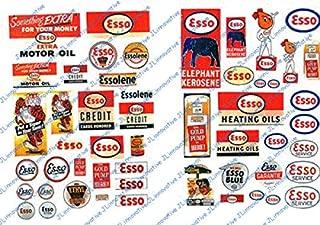 HO Scale Vintage Gas Station Signs -- Esso 1940-50s pkg(52)