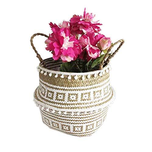 Szetosy - Cesta de junco para almacenamiento de Goodchance UK, con pompones. Cesta plegable tejida y con asa para ropa, juguetes, plantas o para usar en el cuarto del bebé, Estilo#7, 22 x 20 c