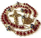 elegantmedical handmade Gold Ladder to Heaven Red Agate & Enamel Beads Catholic Rosary crucifix Necklace