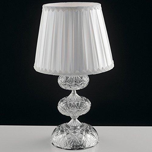 Lume Finitura Cromata Vetro Cristallo paralume Tessuto Lampada da Tavolo Classica E14