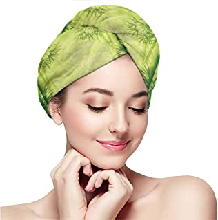 Towel wrap,dry hair towel for girls and children,dry hair cap,Bamboo,Chinese Banmboo Trees Design Asian Fengshui Style Simple Organized Relaxing Life Image,Green
