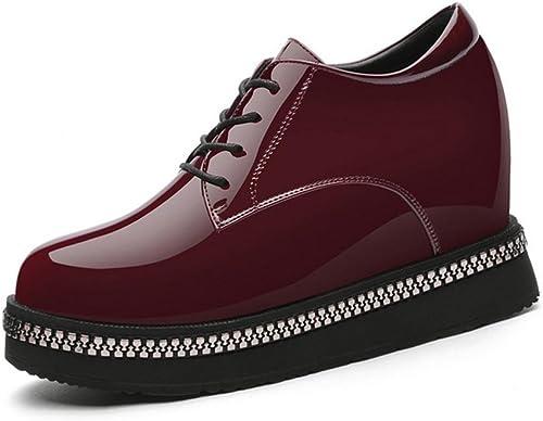 Mme chaussures plate-forme à fond épais chaussures printemps Mme petites chaussures en cuir dans le talon des chaussures plus de femmes chaussures , wine rouge , US8   EU39   UK6   CN39