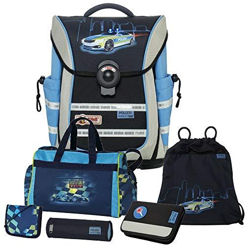 Polizei - Police - McNeill Ergo Light Pure mit Blinklicht Schulranzen-Set 6tlg. mit Sporttasche und BRUSTBEUTEL