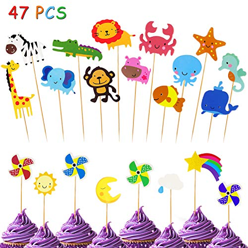 Yojoloin 47PCS Tortendeko Geburtstag Dschungel-Tiere Cupcake Deko Muffin Torten Kuchen,Cupcake-Topper für Baby,Geburtstag, Party Kuchen Dekoration Supplies Löwe Nilpferd AFFE Elefant Etc.