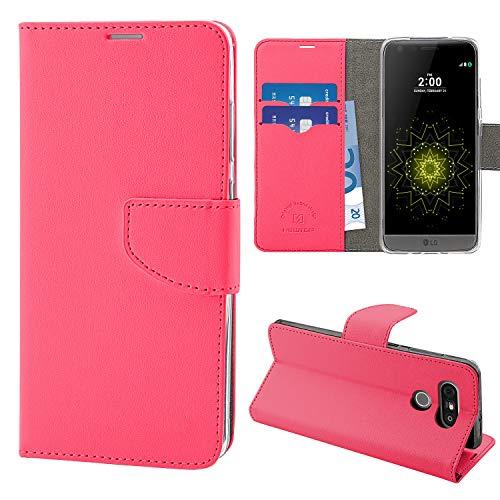 N NEWTOP Cover Compatibile per LG G5 SE - H840, HQ Lateral Custodia Libro Flip Chiusura Magnetica Portafoglio Simil Pelle Stand (Fucsia)