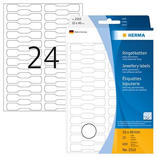 HERMA 2510 Ringetiketten (49 x 10 mm, 25 Blatt, Papier, matt) selbstklebend, permanent haftende Preisetiketten zur Handbeschriftung, 600 Haftetiketten, weiß