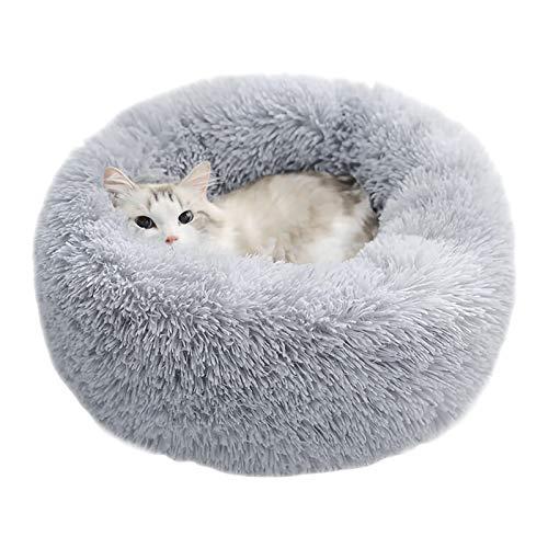 ペットベッド 猫ベッド 犬ベッド ふわふわ ラウンド型 ペットクッション 暖かい 滑り止め 防寒 洗濯可能 子犬 猫用 サイズ選択可 カラー選択可 (50cm, ライトグレー)