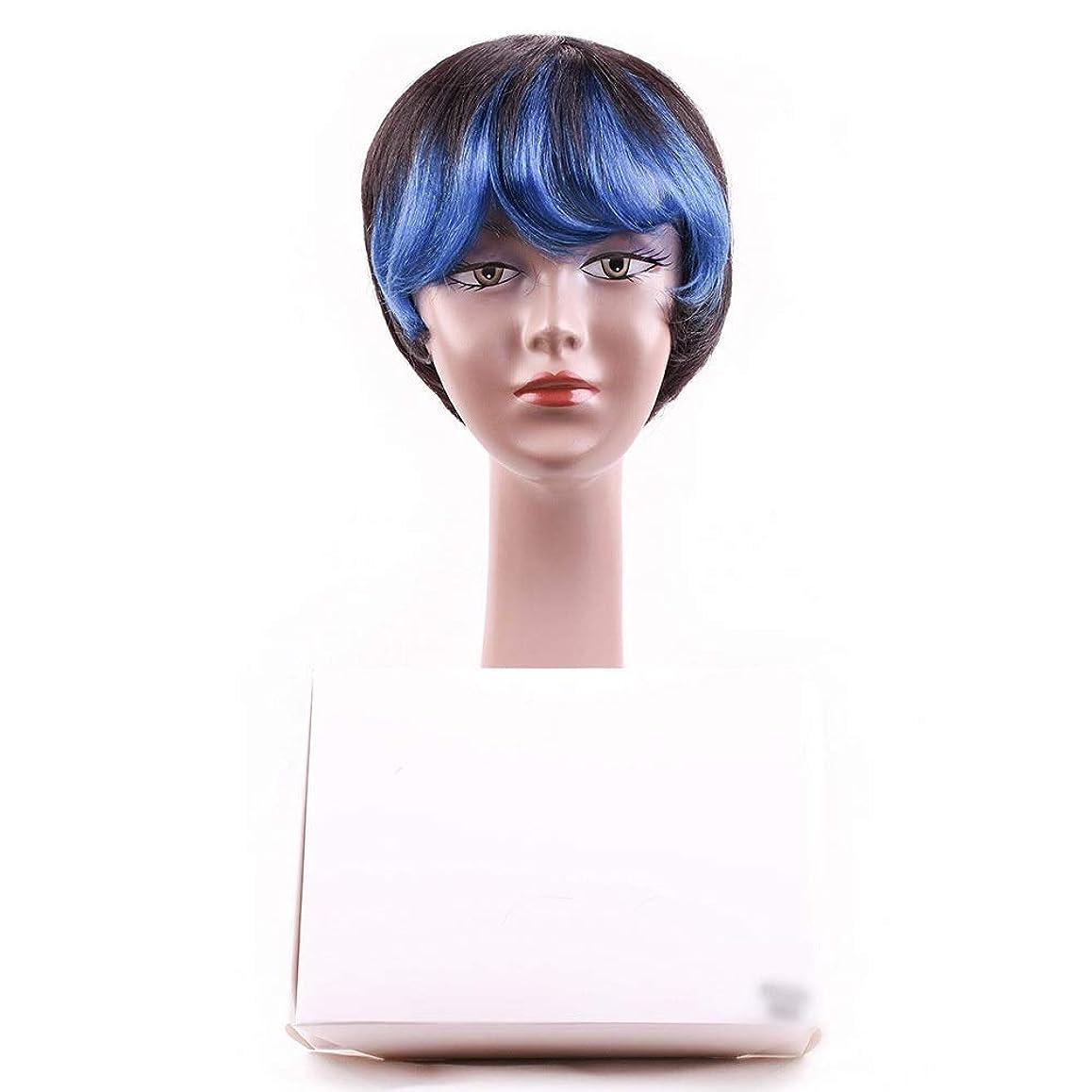 その他持っている行動Mayalina 女性の人間の髪の毛ショートボブかつら前髪付きかつらコスプレパーティーかつらロールプレイングかつら女性用かつら (色 : 青)