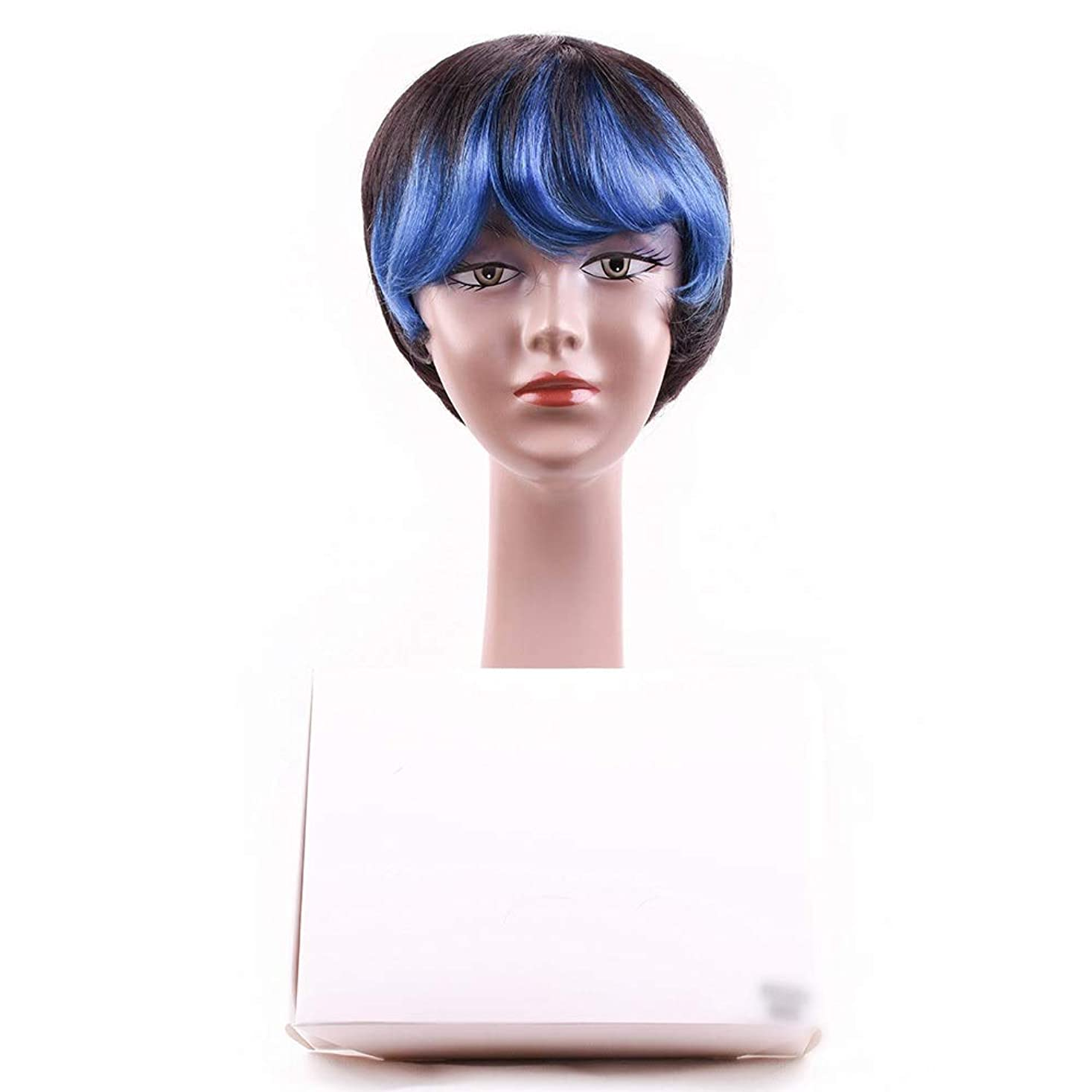 同様のバーベキュー対Mayalina 女性の人間の髪の毛ショートボブかつら前髪付きかつらコスプレパーティーかつらロールプレイングかつら女性用かつら (色 : 青)
