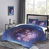 Funda nórdica de, espacio exterior, nebulosa, nube de gas y cúmulos de estrellas, universo, cosmos, astronomía, arte, juego de funda de edredón transpirable para que tu cama sea divertida y cómoda, az