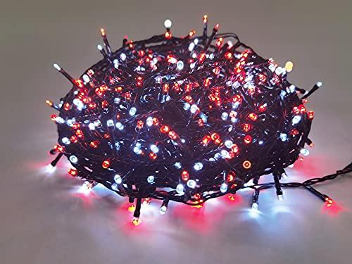 Guirlande de Noël lumineuse extérieure clignotante 34m, 750 LED blanches et rouges