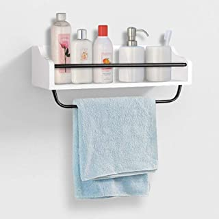AHDECOR Floating Wall Mounted Kitchen Shelf with Simple Towel Bar and 6 Removable Hooks, White