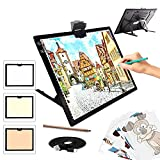 A3 Light Pad, TOHETO Light Box 3 Colors Stepless Dimmable and 6 Levels of Brightness Light Board for Tracing, Rechargeable LED Copy Board with Type-C Cable for Diamond Painting, Sketching, Designing