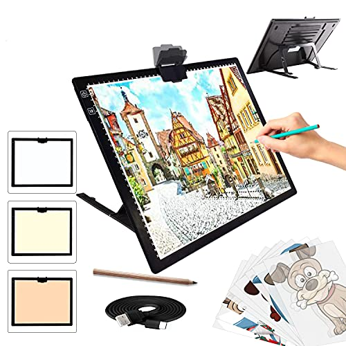 A3 Light Pad, TOHETO Light Box 3 Colors Stepless Dimmable and 6 Levels of...