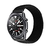 Minggo Braided Band Compatible with Samsung Galaxy Watch3 45mm Band,Stretchable Elastic Woven Replacement Strap Compatible for Gear S3 Frontier/Gear S3 Classic/Galaxy Watch 46mm (Black, M)
